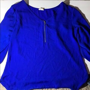 Royal blue blouse with zipper